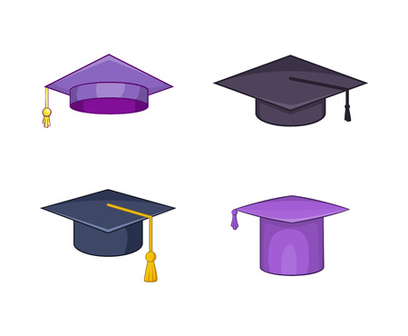 Graduation hat icon set. Cartoon set of graduation hat vector icons for your web design isolated on white background