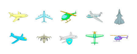 Plane icon set. Cartoon set of plane vector icons for your web design isolated on white background Illustration