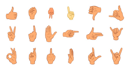 Hand sign icon set. Cartoon set of hand sign vector icons for your web design isolated on white background