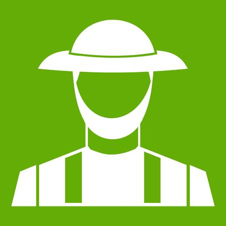 Farmer icon white isolated on green background. Vector illustration