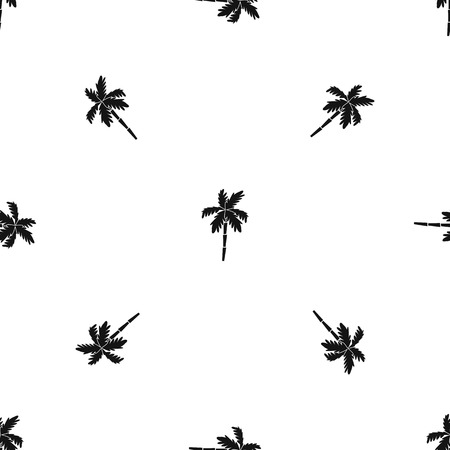 Palm tree pattern repeat seamless in black color for any design. Vector geometric illustration