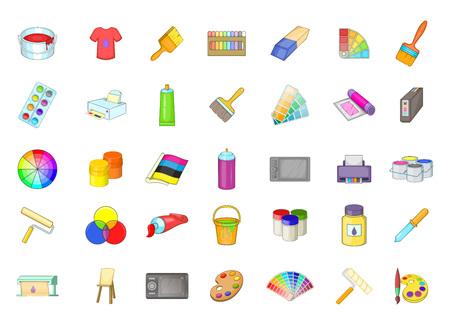 Paint icon set. Cartoon set of paint vector icons for your web design isolated on white background