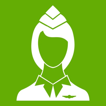 Stewardess icon white isolated on green background. Vector illustration