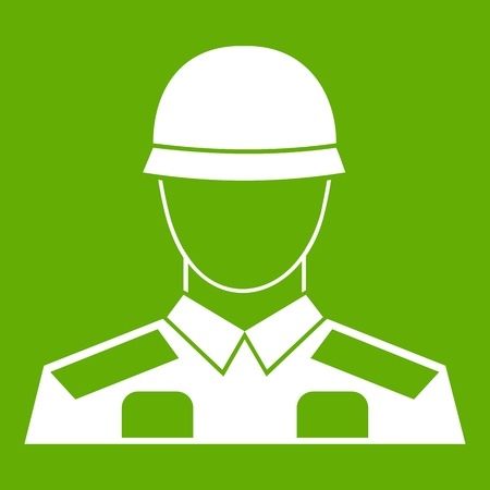 Soldier icon white isolated on green background. Vector illustration