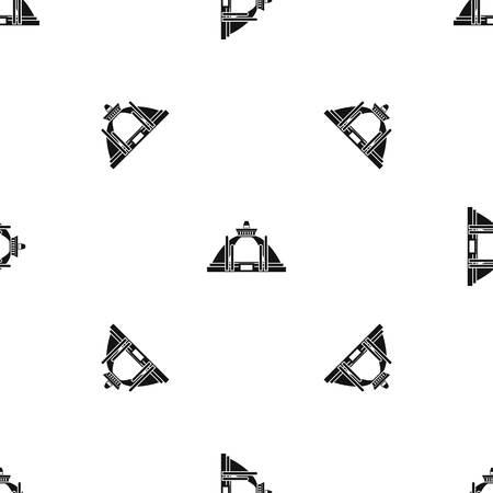 Polonnaruwa, 고 대 stupa 패턴 반복 어떤 디자인 블랙 색상. 벡터 기하학적 그림