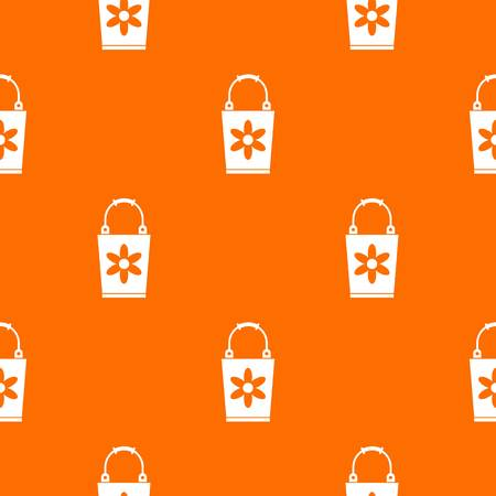 Bucket pattern repeat seamless in orange color for any design. Vector geometric illustration 일러스트