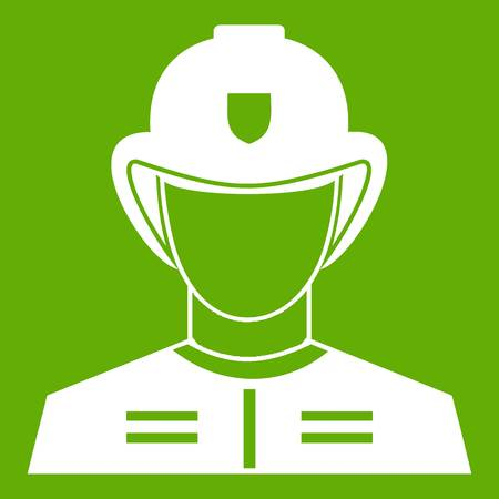 Firefighter icon white isolated on green background. Vector illustration