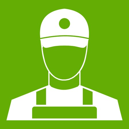 A man in a cap and uniform icon white isolated on green background. Vector illustration