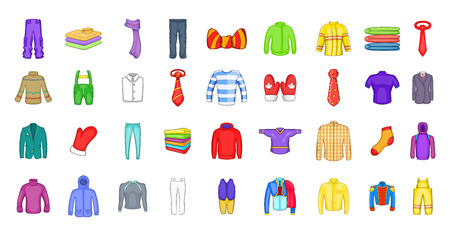 Clothes icon set. Cartoon set of clothes vector icons for your web design isolated on white background