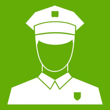 Pilot icon white isolated on green background. Vector illustration