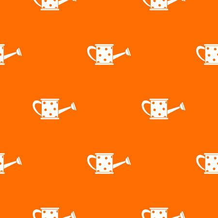 Watering can pattern repeat seamless in orange color for any design. Vector geometric illustration Illustration