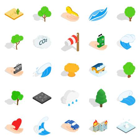 Calamity icons set. Isometric set of 25 calamity vector icons for web isolated on white background