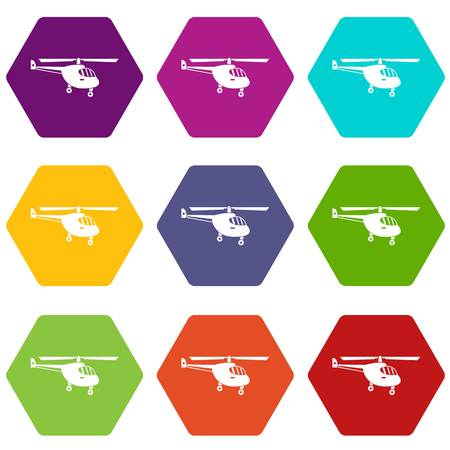 Helicopter icon set many color hexahedron isolated on white vector illustration Illustration