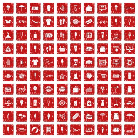 100 summer shopping icons set in grunge style red color isolated on white background vector illustration Ilustração