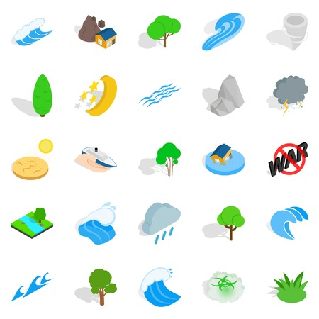 Disaster icons set. Isometric set of 25 disaster vector icons for web isolated on white background Illustration