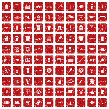 100 beer icons set in grunge style red color isolated on white background vector illustration