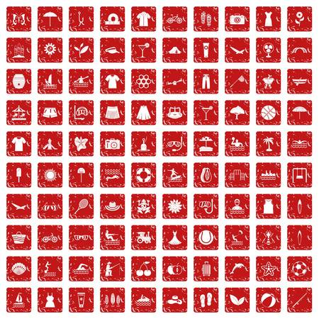 100 summer icons set in grunge style red color isolated on white background vector illustration