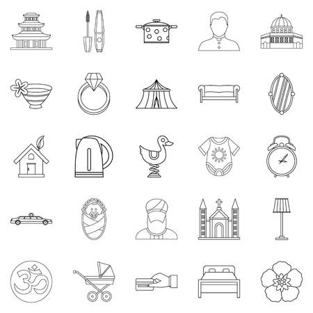 Conjugal icons set. Outline set of 25 conjugal vector icons for web isolated on white background Ilustração