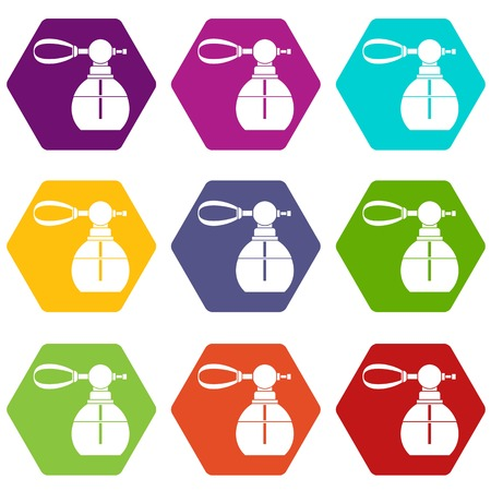 Perfume bottle with vaporizer icon set many color hexahedron isolated on white vector illustration
