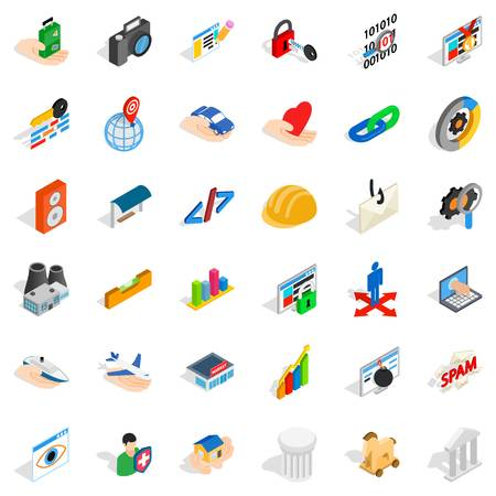 Web icons set. Isometric style of 36 web vector icons for web isolated on white background