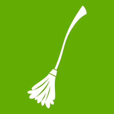 Witches broom icon white isolated on green background. Vector illustration