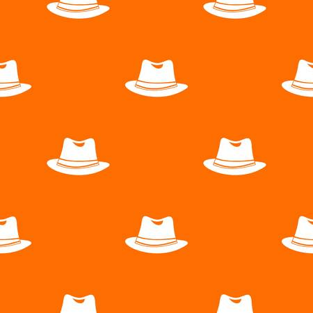 Hat pattern repeat seamless in orange color for any design. Vector geometric illustration