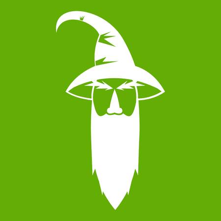 Wizard icon white isolated on green background. Vector illustration
