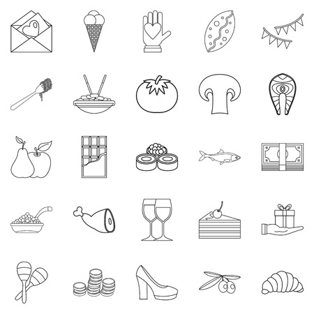 Wedding reception icons set. Outline set of 25 wedding reception vector icons for web isolated on white background 向量圖像