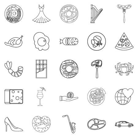 Stag icons set. Outline set of 25 stag vector icons for web isolated on white background Ilustração