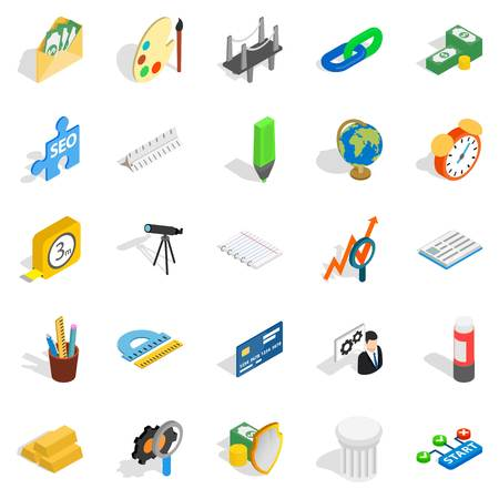 Compute icons set. Isometric set of 25 compute vector icons for web isolated on white background