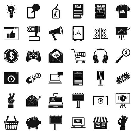 Computer marketing icons set. Simple style of 36 computer marketing vector icons for web isolated on white background