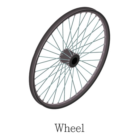 Wheel bicycle icon. Isometric illustration of wheel bicycle vector icon for web Illustration