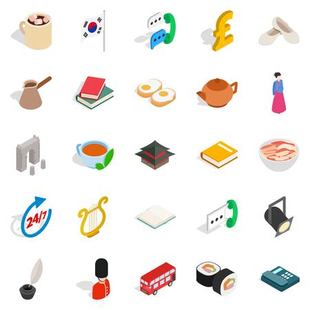 Quiet life icons set. Isometric set of 25 quiet life vector icons for web isolated on white background