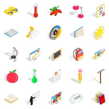 Era icons set. Isometric set of 25 era vector icons for web isolated on white background