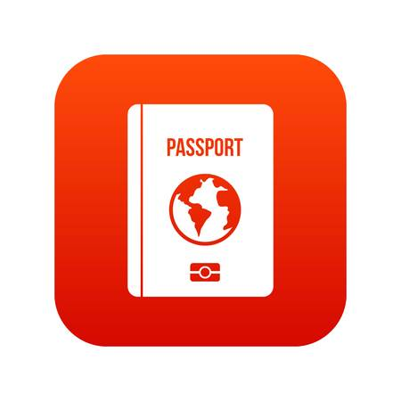 Passport icon digital red for any design isolated on white vector illustration