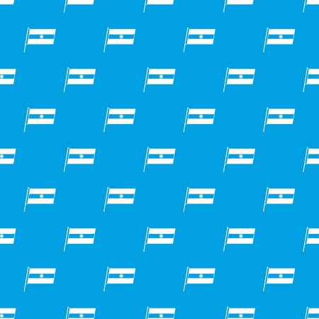 Flag of Argentina seamless pattern on blue background.