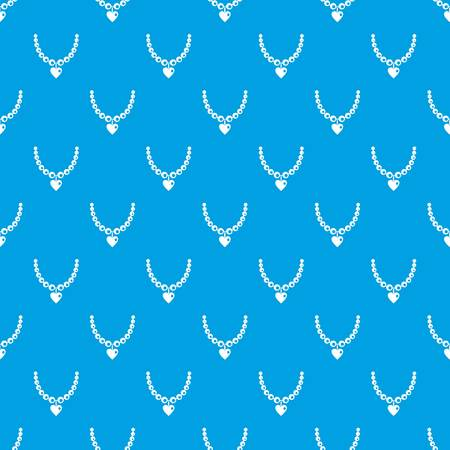 Necklace pattern repeat seamless in blue color for any design. Vector geometric illustration 矢量图像