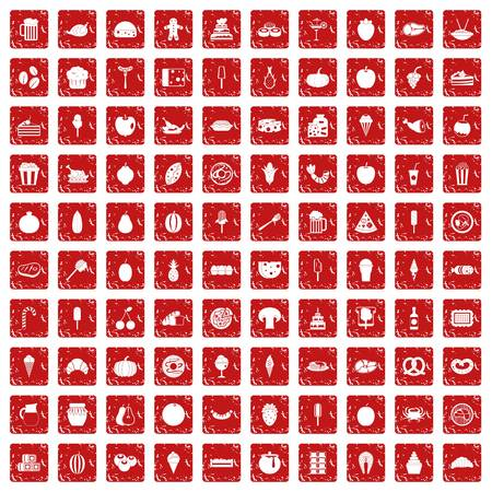 100 tasty food icons set in grunge style red color isolated on white background vector illustration