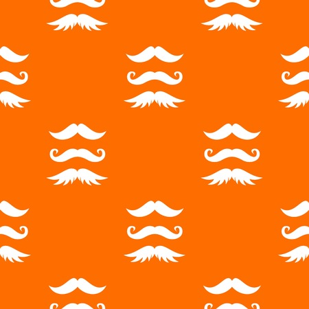 Moustaches pattern repeat seamless in orange color for any design. Vector geometric illustration