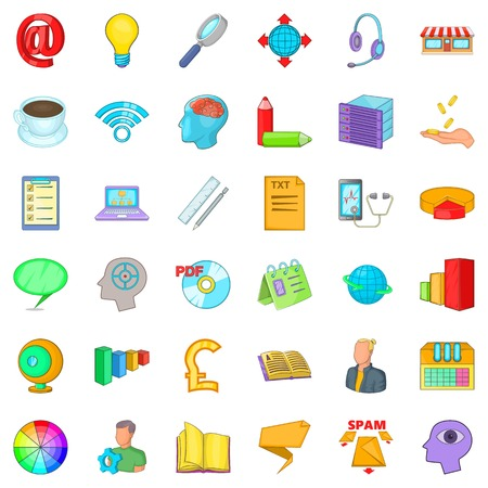 Internet application icons set. Cartoon style of 36 internet application vector icons for web isolated on white background