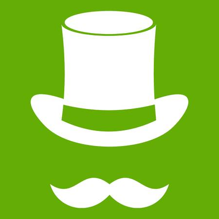 Magic black hat and mustache icon white isolated on green background. Vector illustration Illustration