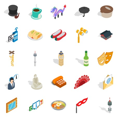 Measured life icons set. Isometric set of 25 measured life vector icons for web isolated on white background