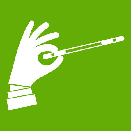 Magician hand with a magic wand icon white isolated on green background. Vector illustration Illustration