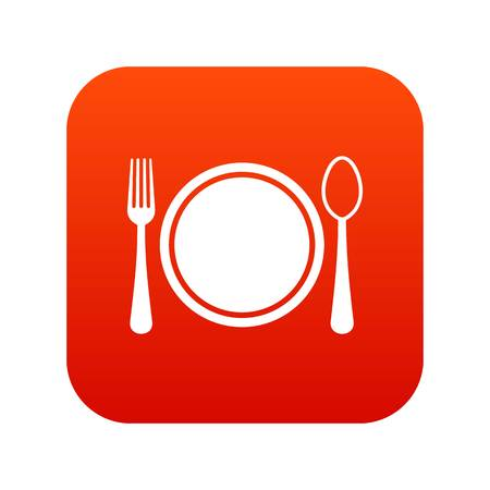 Place setting with plate,spoon and fork icon digital red for any design isolated on white vector illustration