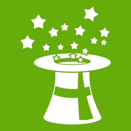 Magic hat with stars icon white isolated on green background. Vector illustration Illustration