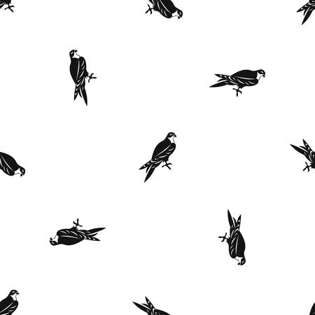 Falcon pattern repeat seamless in black color for any design. Vector geometric illustration