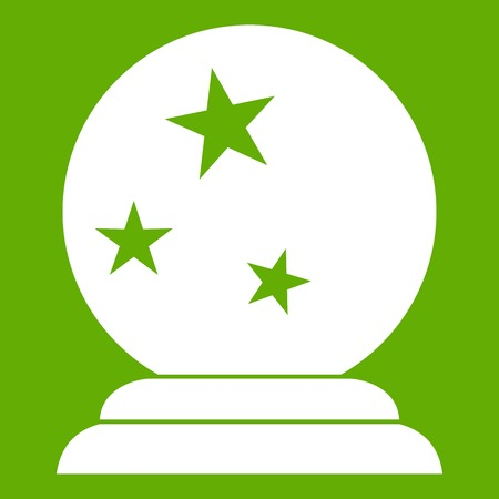 Magic ball icon white isolated on green background. Vector illustration