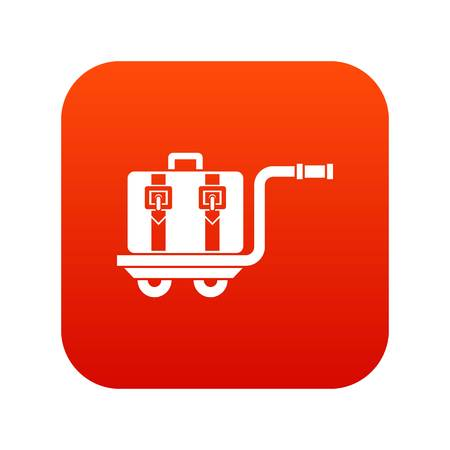 Baggage cart icon digital red for any design isolated on white vector illustration