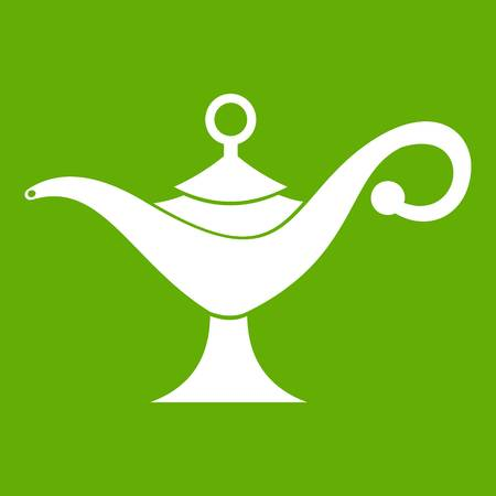 Middle east oil lamp icon white isolated on green background. Vector illustration