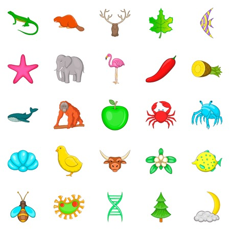 Maintain the wildlife icons set. Cartoon set of 25 maintain the wildlife vector icons for web isolated on white background Illustration